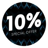 Special offer ten percent text banner or sticker on musical dark background. Vector illustration. Special offer ten percent text banner or sticker on musical Stock Image