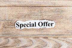 Special offer text on paper. Word Special offer on torn paper. Concept Image.  Stock Photography
