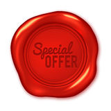 Special offer text on red wax seal isolated on white Royalty Free Stock Images