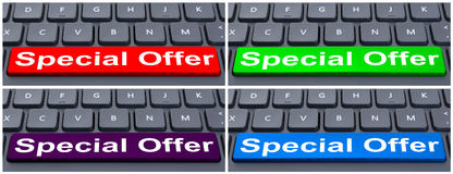 Special offer text on space button Stock Photography