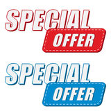 Special offer in two colors labels, flat design Royalty Free Stock Images