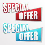 Special offer in two colors labels, flat design Royalty Free Stock Photography