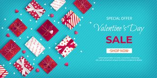 Special offer Valentine`s Day Sale. Discount flyer, big seasonal sale. Horizontal Web Banner with many holiday gift Boxes stock illustration