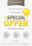 Special Offer vector illustration. On grey background. Vertical poster Special Offer Sale 50 percent Off Everything creative concept for websites, retail stores Stock Photo