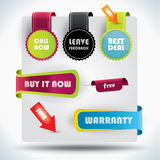 Special offer and warranty labels Stock Photo