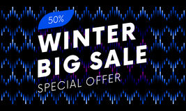 Special offer winter big sale text banner on musical dark background. Vector. Royalty Free Stock Images