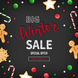 Special offer winter Sale. Discount flyer, big seasonal sale. Web banner with holiday sweets - lollipops, candy cane, cookies. Gingerbread Man. Top view Royalty Free Stock Photography