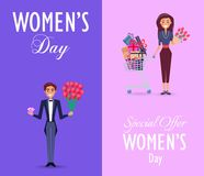 Two Color Cards on Womens Day with Special Offer. Special offer on womens day vector illustration. Cheerful man holds pink gem and red roses, pretty female Stock Illustration