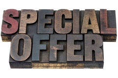 Special offer in wood type. Special offer - isolated words in vintage letterpress wood type with ink patina Royalty Free Stock Photos
