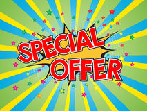 Special offer, wording in comic speech bubble on burst backgrounD Stock Photos