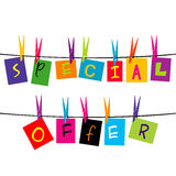 Special offer words hanging on a rope Stock Photography