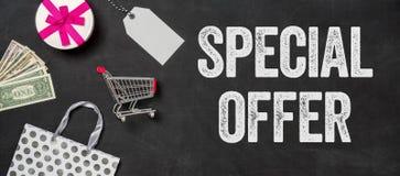 Special offer written on a blackboard. Shopping concept - Special offer written on a blackboard Royalty Free Stock Image
