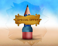 Special offer written on wooden board and board is place on big pancil Royalty Free Stock Photography