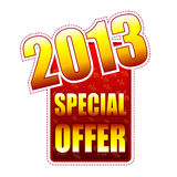 Special offer year 2013 label. Special offer year 2013 - red and yellow label with text and percentage signs, business concept Stock Images