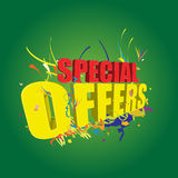 Special offers 3D on green background. A 3D colourful special offers text on green background Stock Photography
