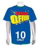 Special offers on blue T-shirt. A 3D colourful special offers text on blue T-shirt Royalty Free Stock Images