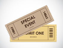 Special old entrance tickets. For party Royalty Free Stock Photography
