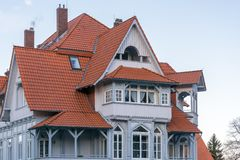 Beautiful roof construction of an old renovated house stock images
