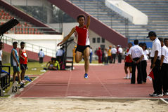 SPECIAL OLYMPIC TARGET. An Indonesian disabled athlete or paralympian at Solo, Java, Indonesia. Indonesia is targetting 15 gold medals on The 2015 Special Stock Images