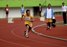 SPECIAL OLYMPIC TARGET. An Indonesian disabled athlete or paralympian at Solo, Java, Indonesia. Indonesia is targetting 15 gold medals on The 2015 Special Royalty Free Stock Photo