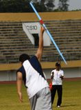 SPECIAL OLYMPIC TARGET. An Indonesian disabled athlete or paralympian at Solo, Java, Indonesia. Indonesia is targetting 15 gold medals on The 2015 Special Royalty Free Stock Images
