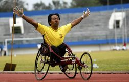 SPECIAL OLYMPIC TARGET. An Indonesian disabled athlete or paralympian at Solo, Java, Indonesia. Indonesia is targetting 15 gold medals on The 2015 Special Royalty Free Stock Photos
