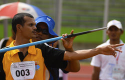 SPECIAL OLYMPIC TARGET. An Indonesian disabled athlete or paralympian at Solo, Java, Indonesia. Indonesia is targetting 15 gold medals on The 2015 Special Royalty Free Stock Photography