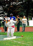 Special Olympics athlete. Shot put Stock Photography
