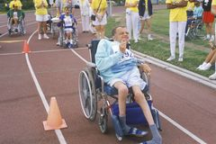 Special Olympics athlete in wheelchair, competing, UCLA, CA Stock Photography