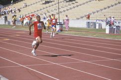 Special Olympics athletes running race, UCLA, CA Stock Photos