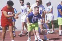 Special Olympics athletes at start line, UCLA, CA Royalty Free Stock Photo