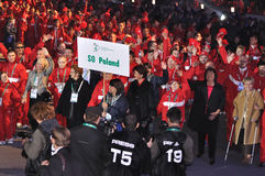 Special Olympics European Summer Games. Sports delegation from Poland during the Special Olympics European Summer Games opening ceremony at the Legia Stadium in Royalty Free Stock Images