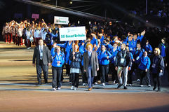Special Olympics European Summer Games. Sports delegation from Great Britain together musician Mick Hucknall, during the Special Olympics European Summer Games Stock Images