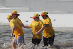 Special Olympics Nebraska Polar Plunge. Dozens of brave people showed up Saturday, February 16 to raise funds for Special Olympics Nebraska. The Polar Plunge is Royalty Free Stock Photo