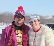 Special Olympics Nebraska Polar Plunge with costumed participants Stock Photo
