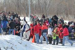 Special Olympics Nebraska Polar Plunge Crowd with Polar Bear royalty free stock images