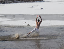 Special Olympics Nebraska Polar Plunge Man Diving Royalty Free Stock Photography