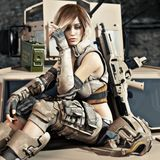 Special operations female solder sitting on the hood of an armored vehicle with a little down time before her next mission. royalty free illustration