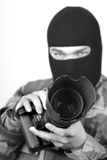 Special Ops Photographer. B&W 3. Special Ops Photographer. Lens hood and front of lens are in focus, rest is soft Royalty Free Stock Photo