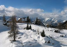 Special panorama from tirol, austria. Very special winter panorama from top of a mountain in Tirol, Austria Stock Photos