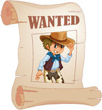 A special paper with an image of a wanted man Royalty Free Stock Photography