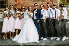 Special photo of the couple with the friends on the wedding royalty free stock photos