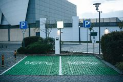 A special place for charging electric cars or vehicles in Lisbon in Portugal. A modern and eco-friendly mode of stock photography