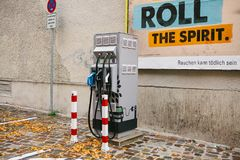 Berlin, October 1, 2017: A special place for refueling electric vehicles. A modern and eco-friendly mode of transport Stock Images