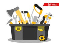 Special plastic box for tools with tools in the style of flat stock illustration