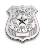 Special Police Badge. Silver Police Badge Isolated on a White Background stock images