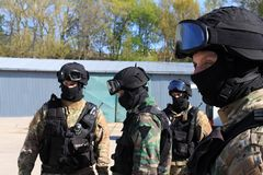 Special police commandos arrest a terrorist. Training SWAT Stock Images