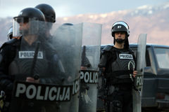 Special police forces. B7 special police forces on high risc soccer premier league game in bosnia and herzegovina Royalty Free Stock Images
