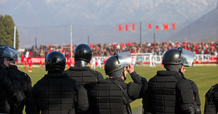 Special police forces. On high risc soccer premier league game in bosnia and herzegovina. Mostar city derby. Photo taken on: 26.2.2011 Home team: FK Velez stock photo