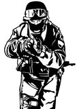 Special Police Forces. Black and White Illustration, Vector stock illustration